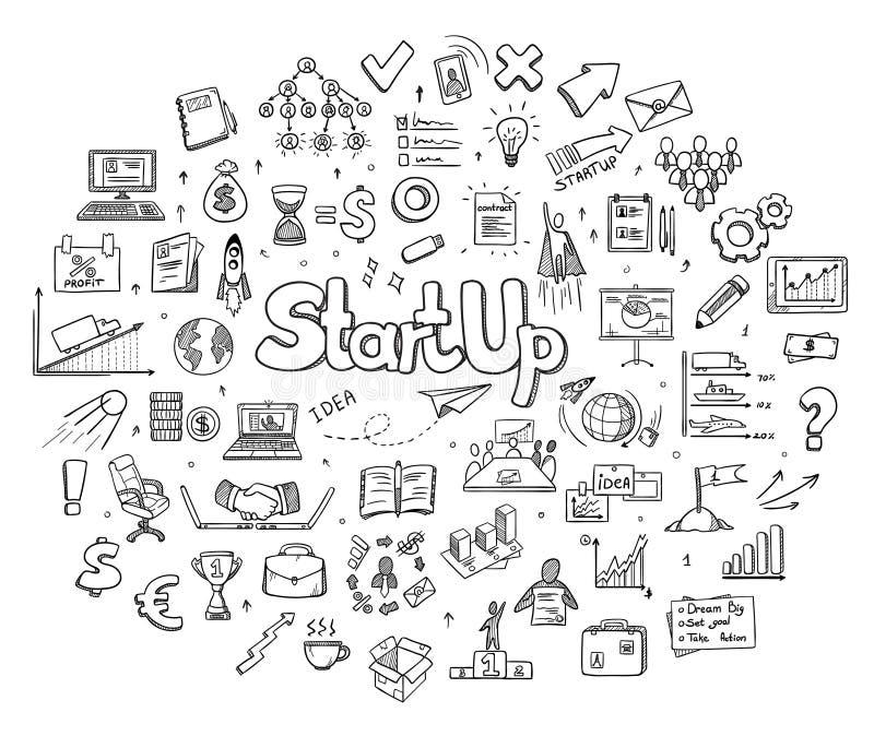 Concepto redondo de los elementos del negocio de Infographic del bosquejo stock de ilustración