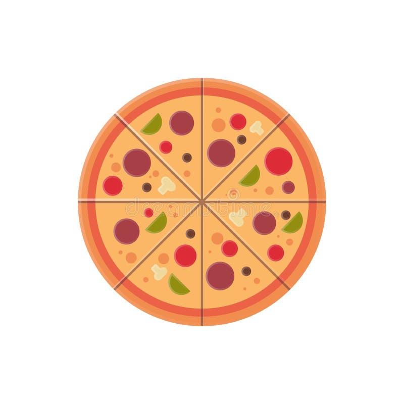 Concepto redondo del menú de los alimentos de preparación rápida del icono de las rebanadas de la pizza aislado sobre el fondo bl libre illustration