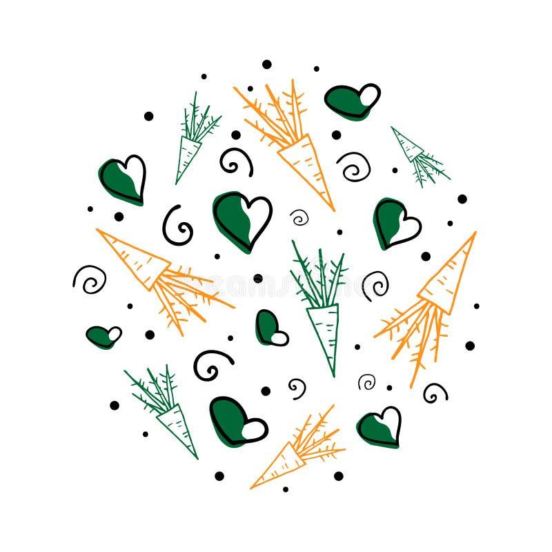 Concepto redondo del vector con las zanahorias, los rizos y los corazones ilustración del vector