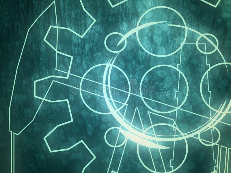 Concepto relativo del fondo del tema de la industria Engranajes de neón ilustración del vector