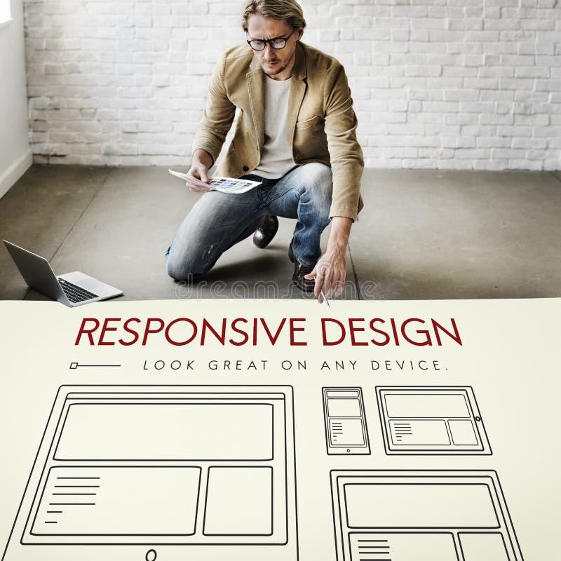 Concepto responsivo de la plantilla de la página web de la disposición de diseño imagen de archivo libre de regalías
