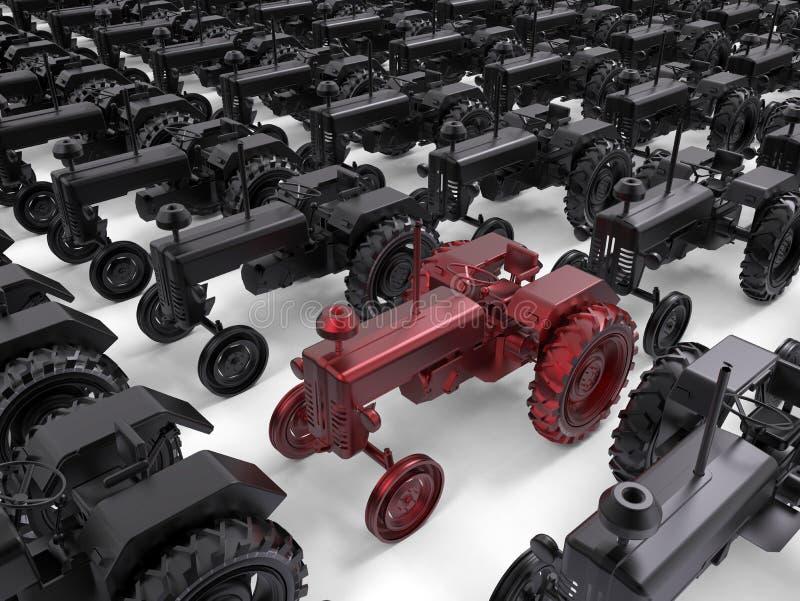 Concepto retro apuntado del tractor ilustración del vector