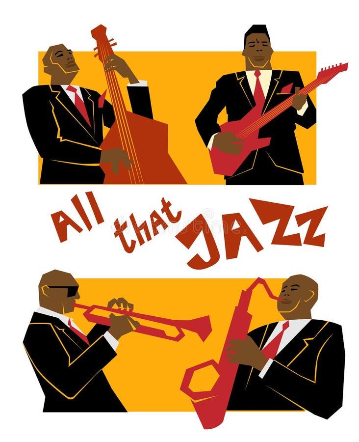 Concepto retro de la música de jazz, banda, ejemplo de la escuela vieja para hacer publicidad, carteles y festival de la cubierta ilustración del vector