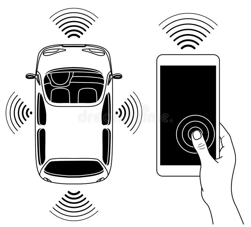 Concepto robótico Driverless de la forma del coche, visión desde arriba ilustración del vector