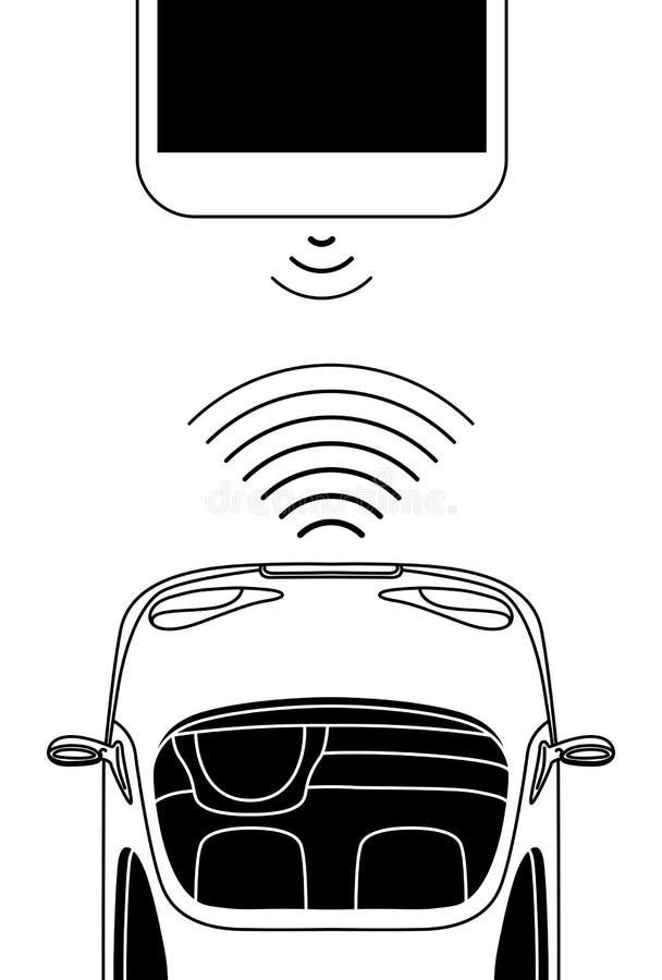 Concepto robótico Driverless del coche, visión desde arriba stock de ilustración