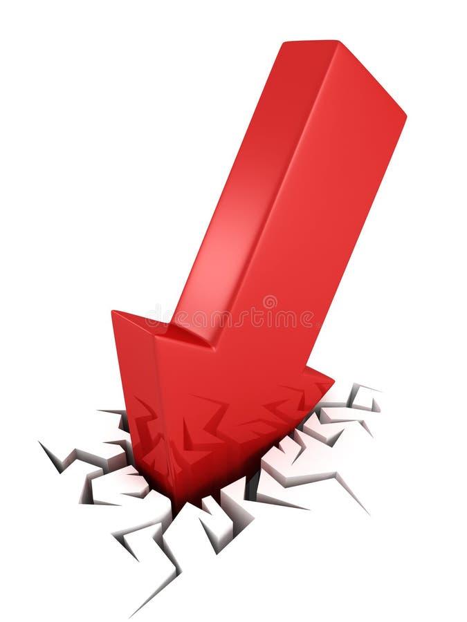 concepto rojo del desplome del negocio de la flecha 3d en agujero de la grieta stock de ilustración