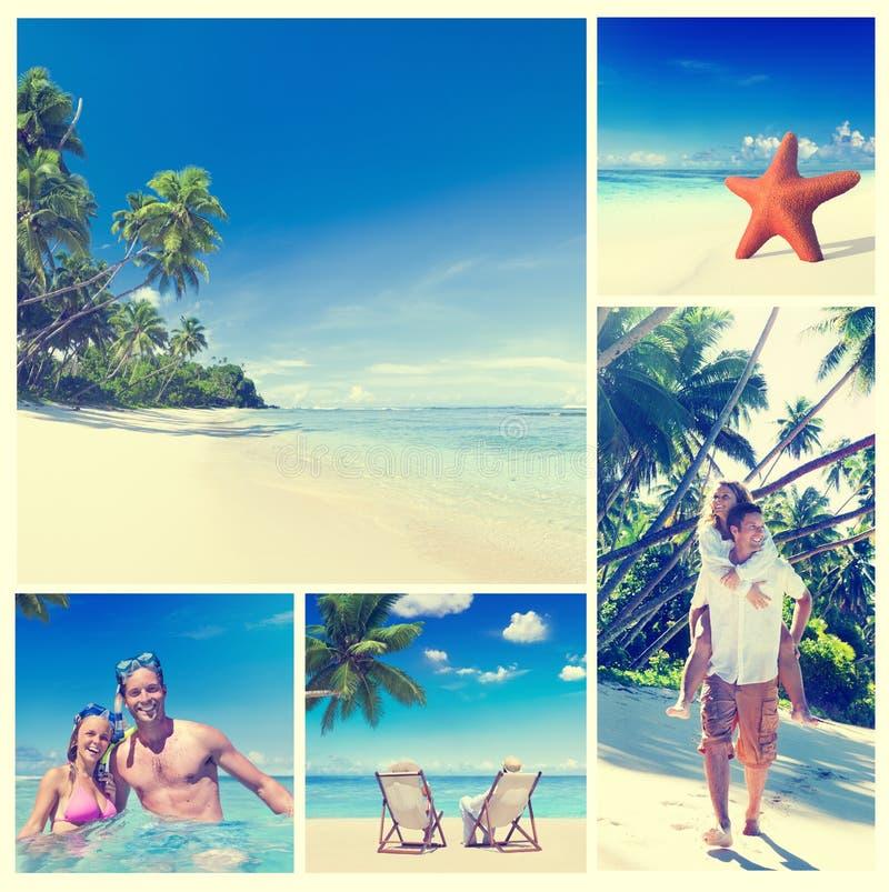 Concepto romántico de la playa del verano de los pares de la luna de miel fotos de archivo