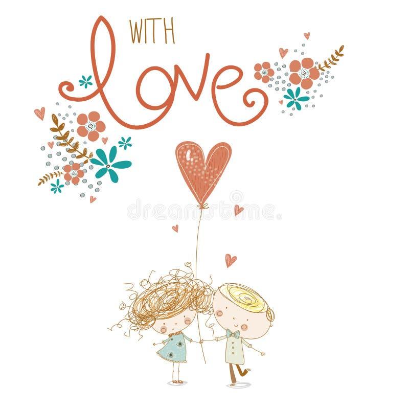 Concepto romántico Muchacho y muchacha cariñosos con el corazón rojo Quiera los pares Ilustración del vector ilustración del vector