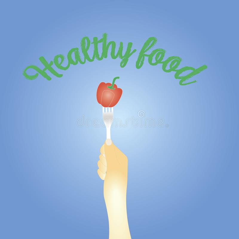 Concepto sano de la consumici?n pimienta dulce en una bifurcación Ilustraci?n del vector stock de ilustración