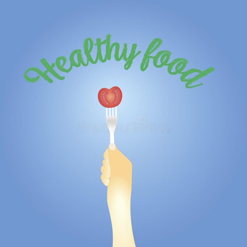 Concepto sano de la consumici?n Tomate en la bifurcaci?n Ilustraci?n del vector stock de ilustración