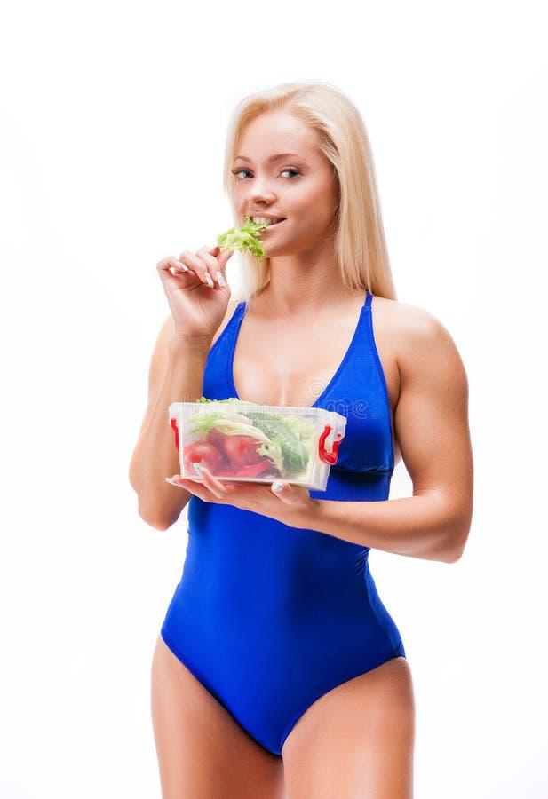 Concepto sano de la forma de vida de la mujer de la dieta y del ejercicio fotografía de archivo