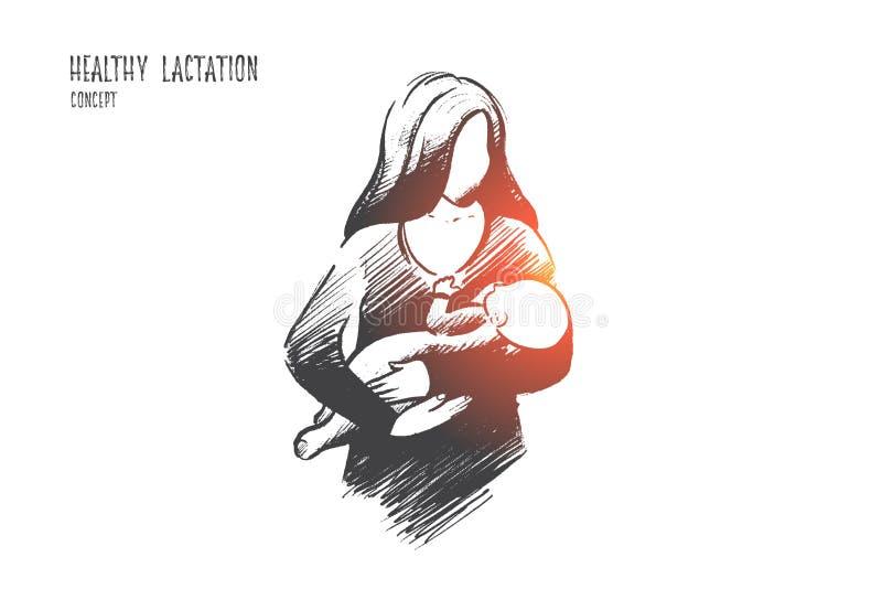 Concepto sano de la lactancia Vector drenado mano libre illustration
