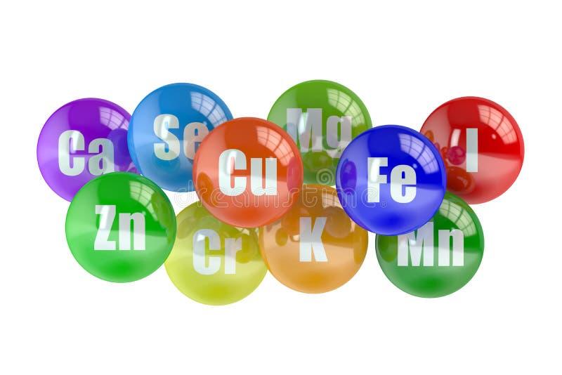 Concepto sano de la vida, sistema de elementos minerales ilustración del vector