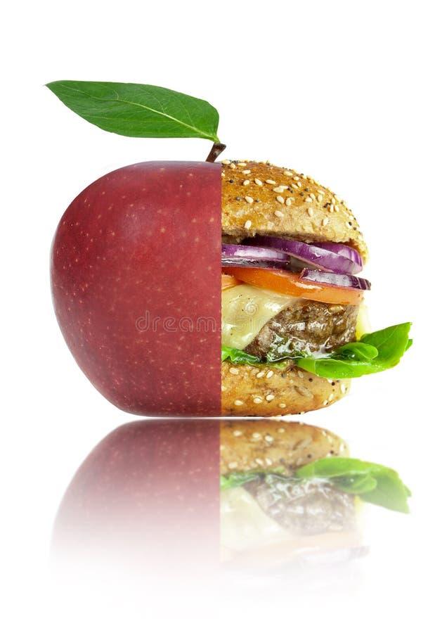 Concepto sano y malsano de las opciones de la nutrición de la comida fotografía de archivo