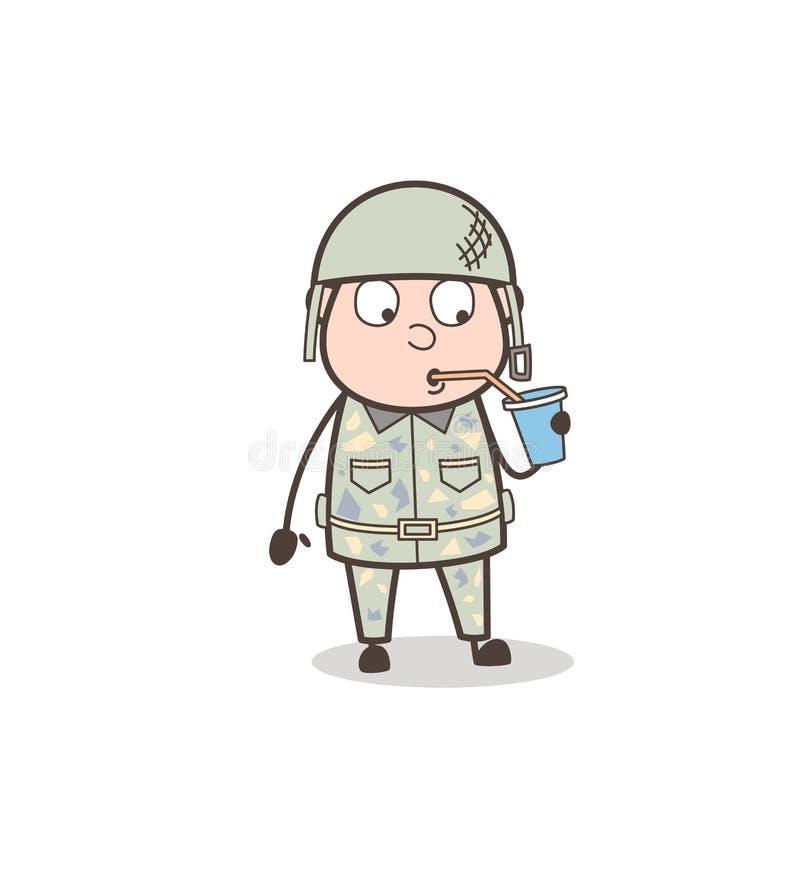 Concepto sediento de Drinking Beverage Vector del oficial de la historieta stock de ilustración