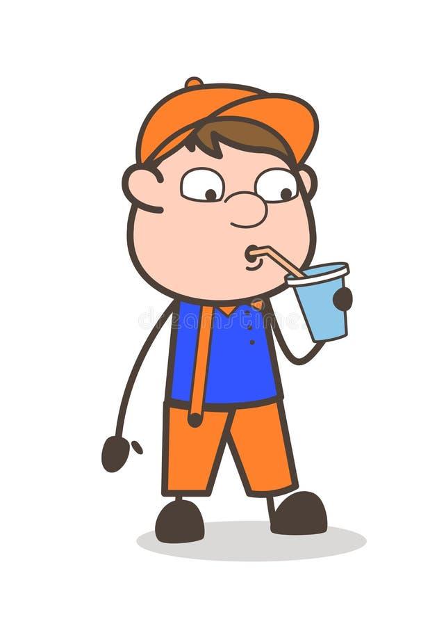 Concepto sediento del vector de Labor Drinking Water del carpintero stock de ilustración