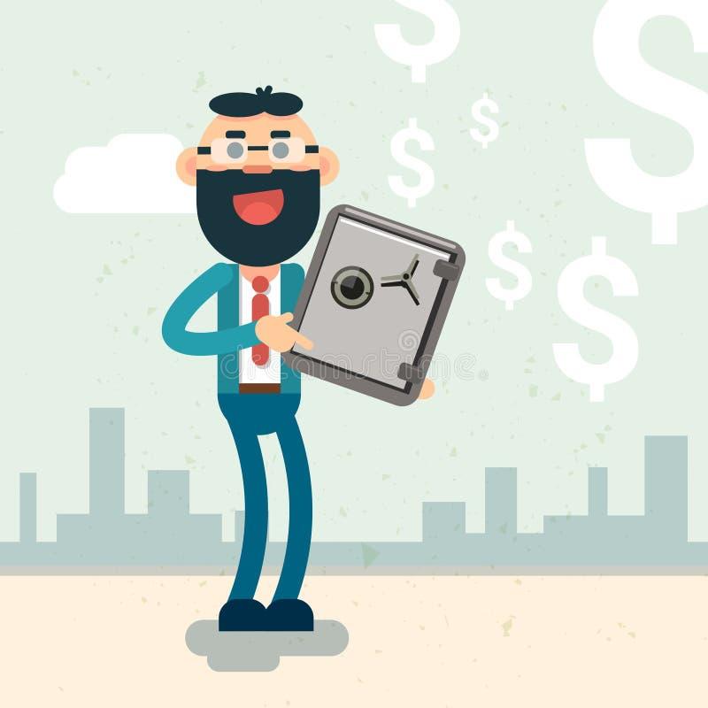 Concepto seguro de la seguridad del dinero del control del hombre de negocios libre illustration