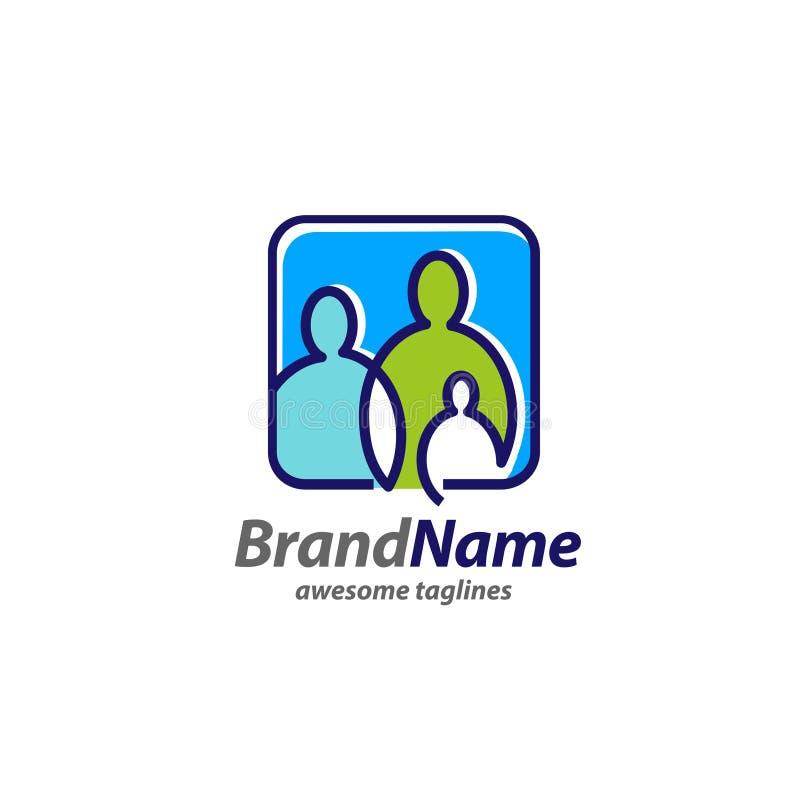 Concepto simple creativo del logotipo de la familia stock de ilustración
