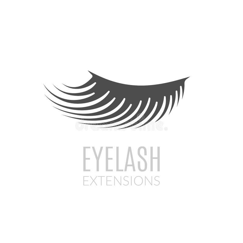 Concepto simple del logotipo de las extensiones de la pestaña Ejemplo del párpado de la mujer ilustración del vector