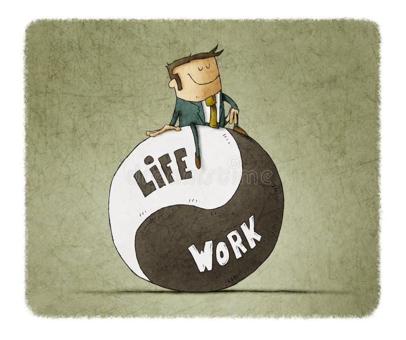 Concepto sobre trabajo y vida de la balanza stock de ilustración