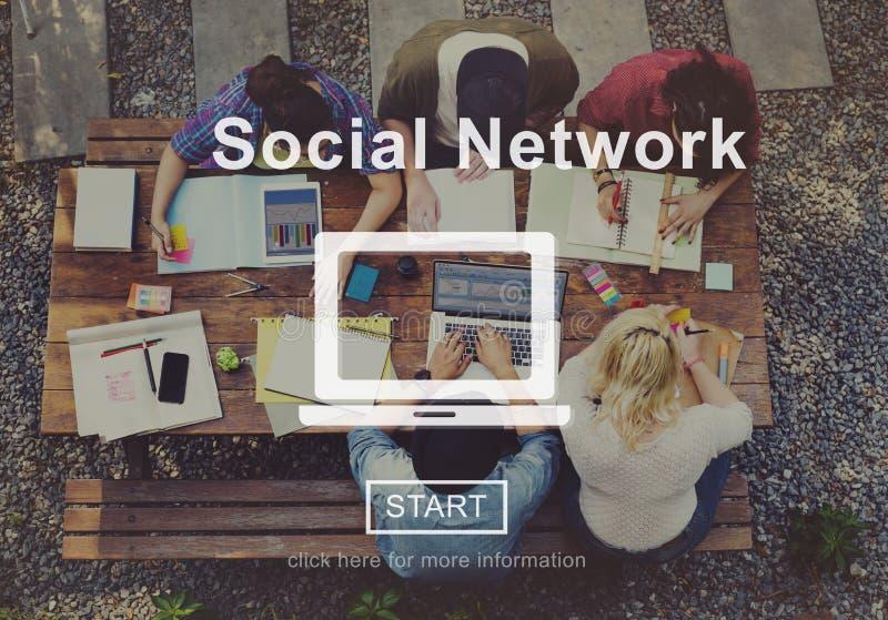 Concepto social de Internet de la conexión del establecimiento de una red de la red foto de archivo