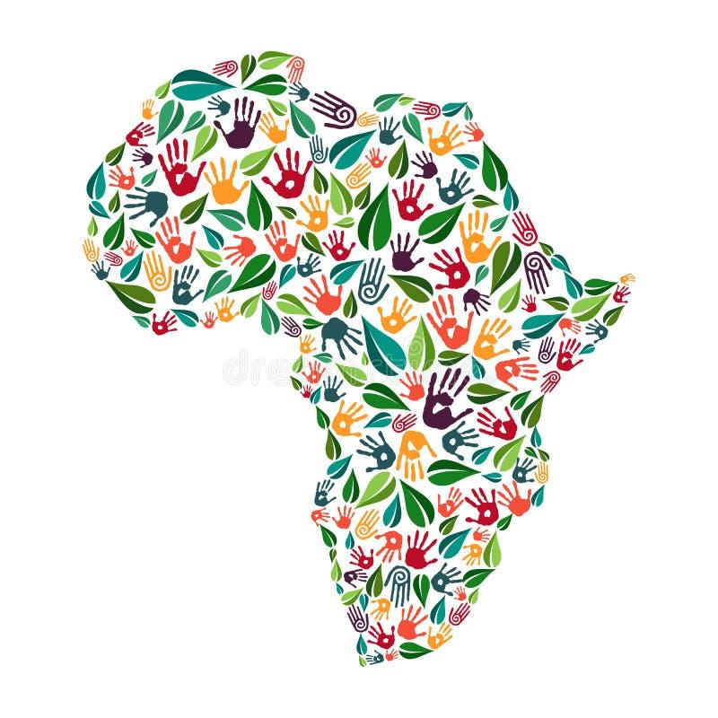Concepto social de la ayuda del ambiente de la impresión de la mano de África libre illustration