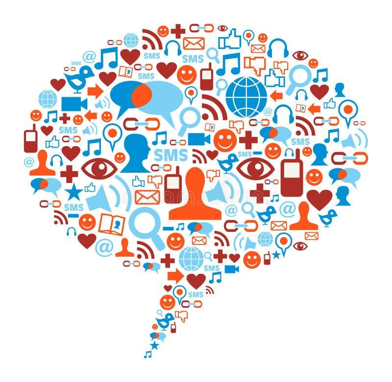 Concepto social de la burbuja de los media stock de ilustración