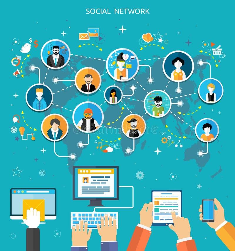 Concepto social de la conexión de red de los media ilustración del vector