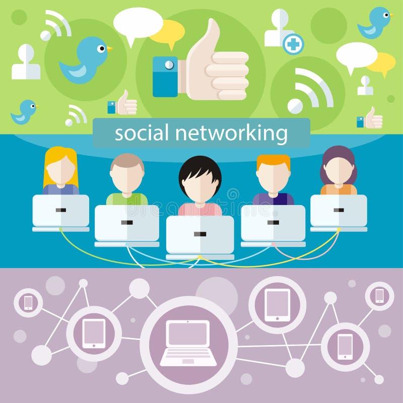 Concepto social de la conexión de red de los media libre illustration