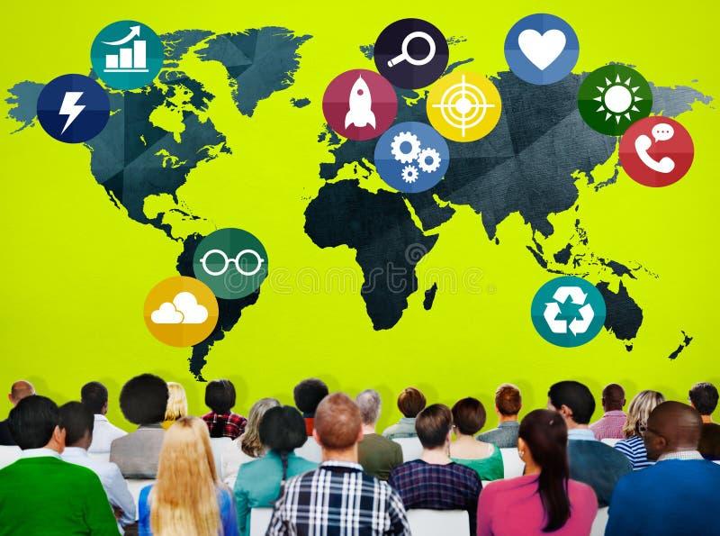 Concepto social de la conexión del establecimiento de una red de las comunicaciones globales foto de archivo