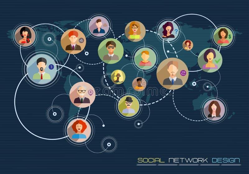 Concepto social de la red Diseño plano para los sitios web y el infographi stock de ilustración
