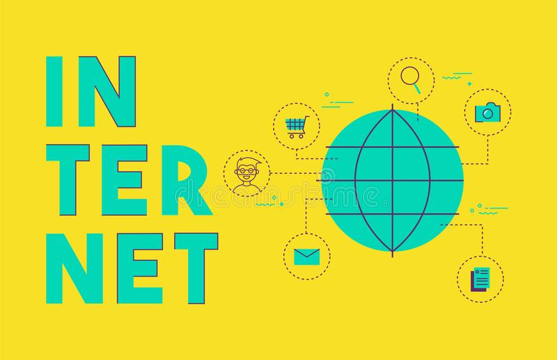 Concepto social de la red de Internet global medios libre illustration