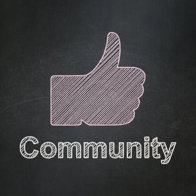 Concepto social de la red: Pulgar ascendente y comunidad encendido stock de ilustración