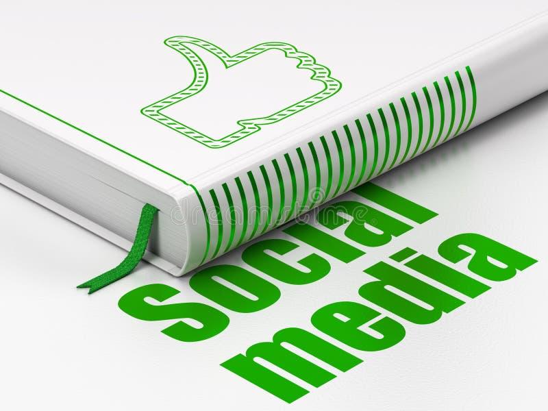 Concepto social de la red: pulgar del libro para arriba, medios sociales stock de ilustración