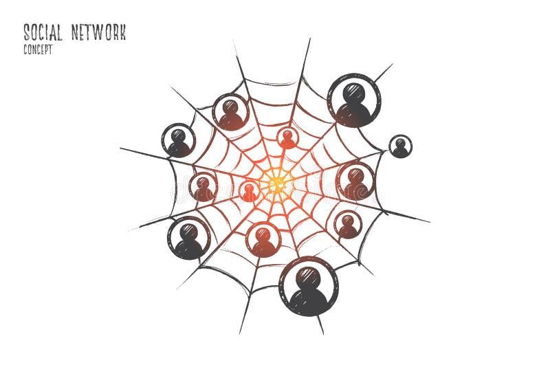 Concepto social de la red Vector aislado dibujado mano stock de ilustración
