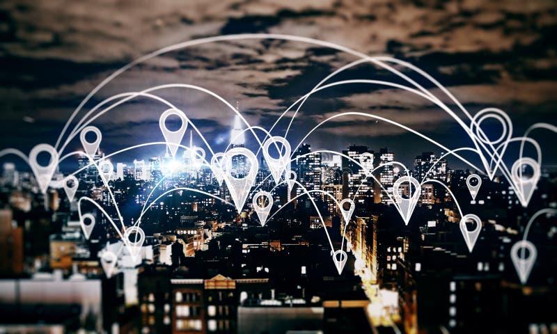 Concepto social de la red y del establecimiento de una red imágenes de archivo libres de regalías