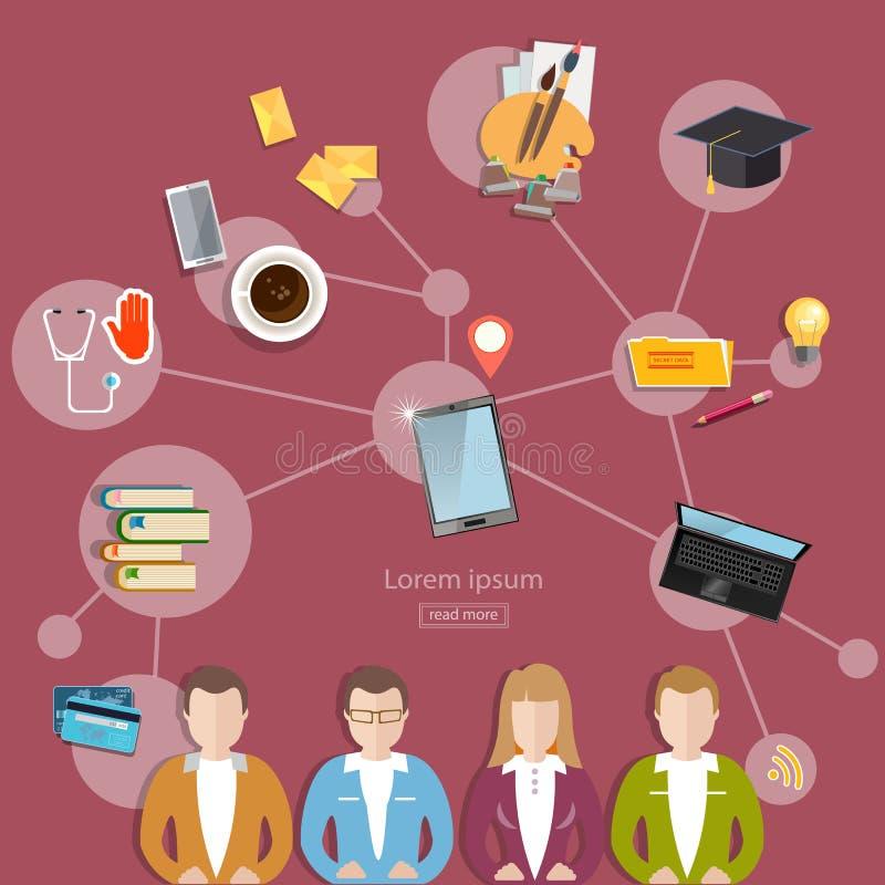 Concepto social de la red y del trabajo en equipo libre illustration