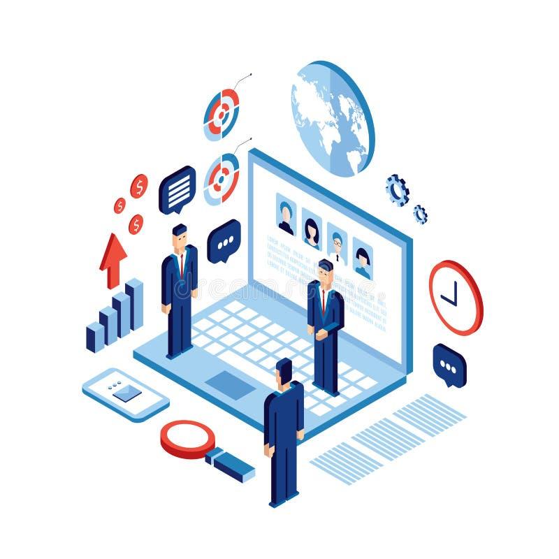 Concepto social de la tecnología de comunicación de la red del negocio acertado isométrico de la gente del hombre de negocios libre illustration
