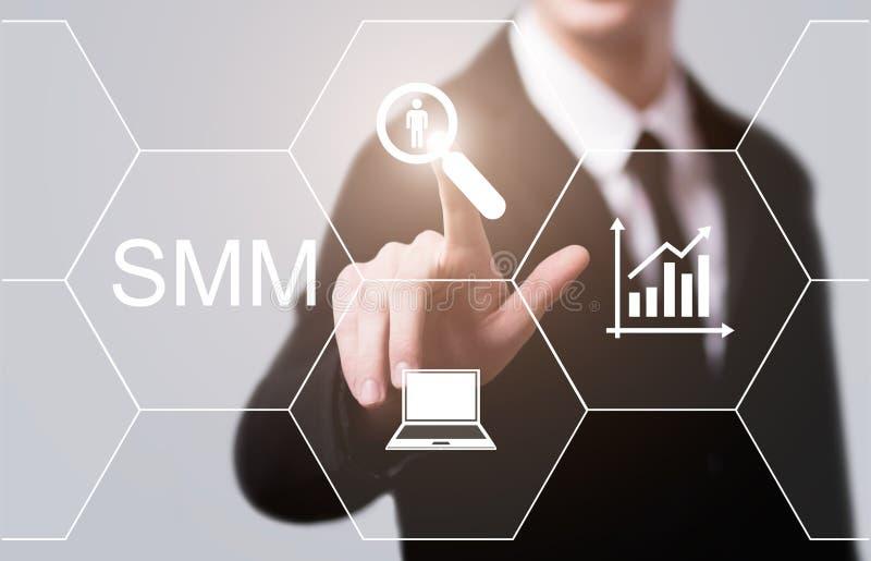 Concepto social de la tecnología del negocio de Internet de la publicidad del márketing de SMM medios foto de archivo libre de regalías