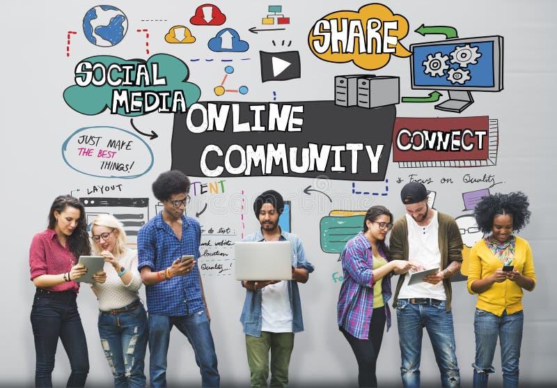 Concepto social de la unidad de la sociedad del establecimiento de una red de la comunidad en línea imagen de archivo libre de regalías
