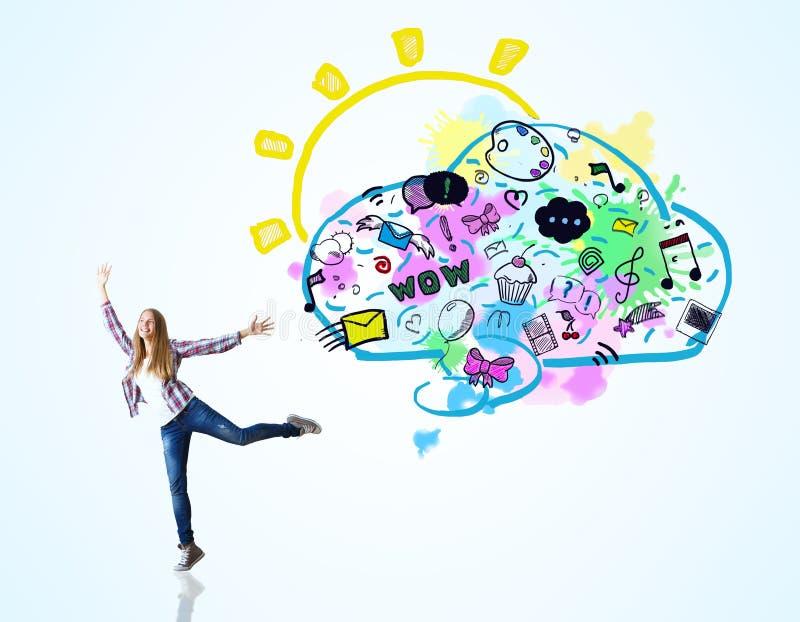 Concepto social de los media stock de ilustración