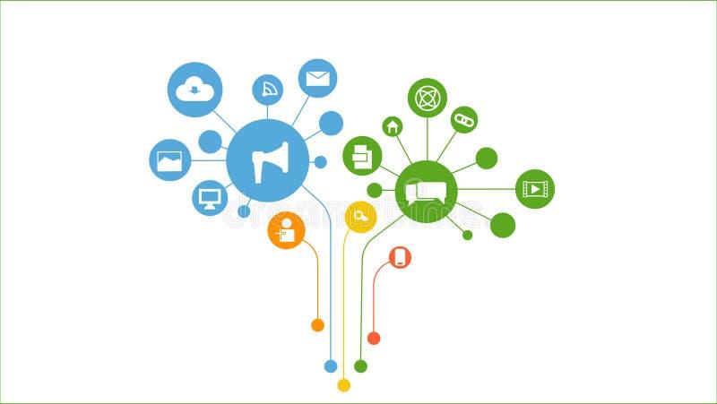 Concepto social de los media Comunicaci?n en las redes de ordenadores globales libre illustration