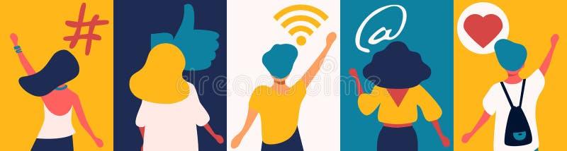 Concepto social de los medios: s?mbolos digitales del app para los bloggers e influencers que comparten con la audiencia Muestra  stock de ilustración