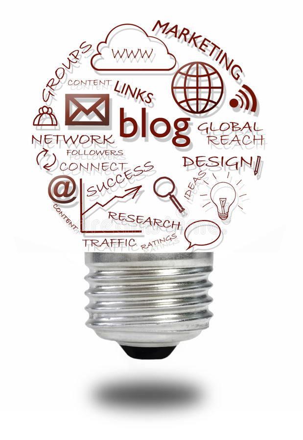 Concepto social del blog medios imagen de archivo