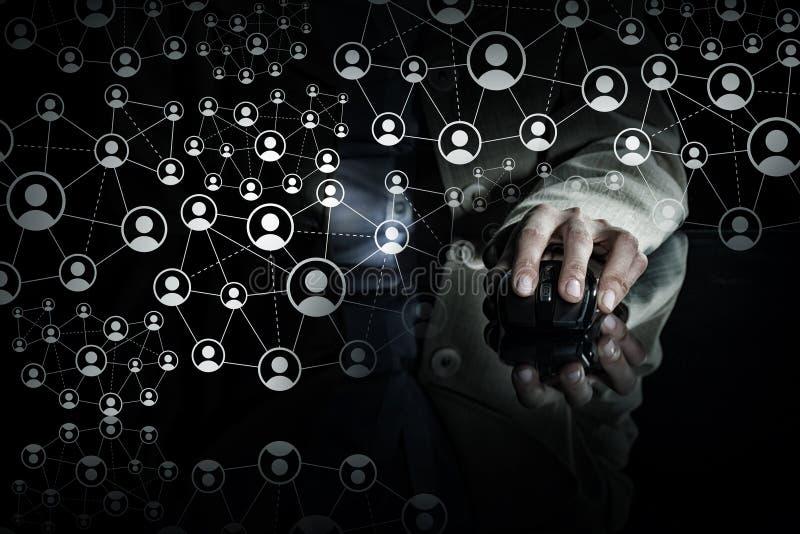Concepto social del establecimiento de una red fotos de archivo