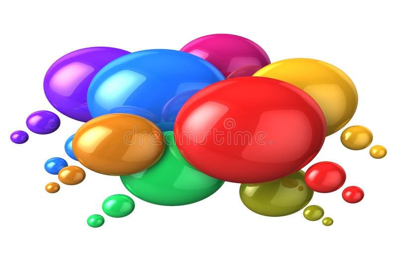 Concepto social del establecimiento de una red: burbujas coloridas del discurso ilustración del vector