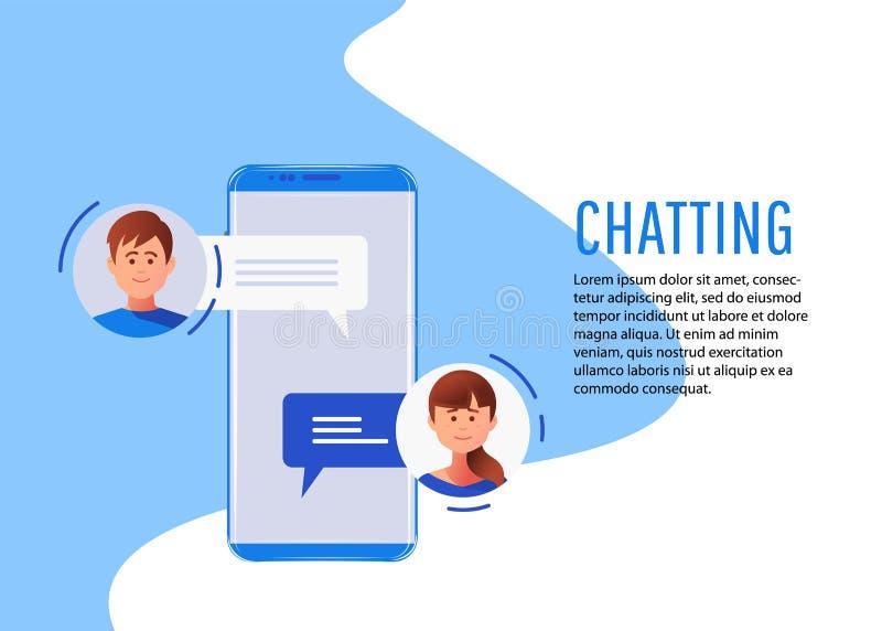 Concepto social del establecimiento de una red charla libre illustration