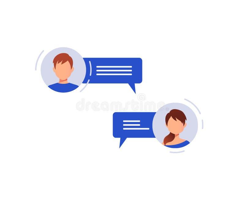 Concepto social del establecimiento de una red charla stock de ilustración