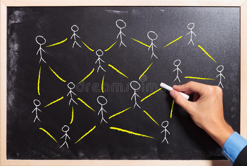 Concepto social del establecimiento de una red o del trabajo en equipo imagen de archivo