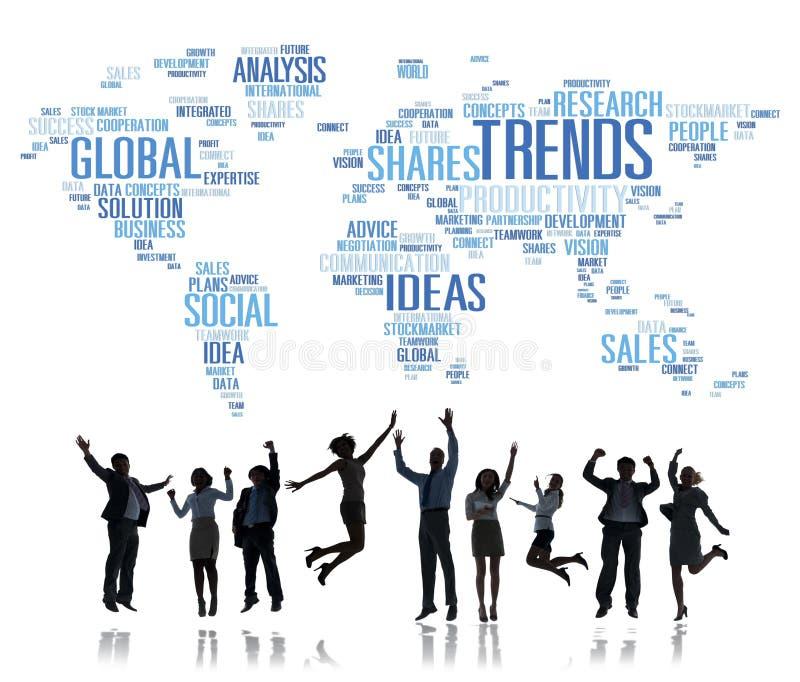 Concepto social del estilo de las ideas del márketing del mapa del mundo de las tendencias libre illustration